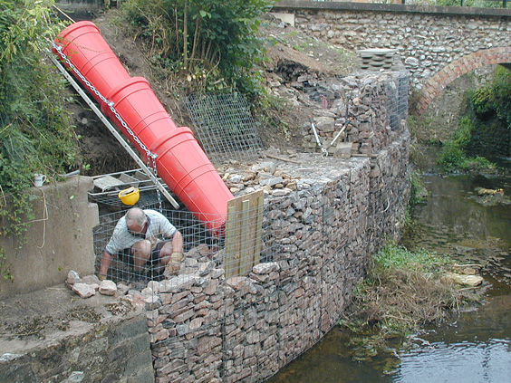 retaining wall construction image